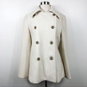 J. Crew Peacoat Jacket Ivory Cream Wool-blend Sz L
